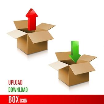 Scatola di cartone icona modello 3d della scatola