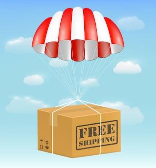 Scatola di cartone pacchetto di spedizione gratuita con paracadute