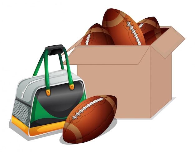 Scatola di cartone piena di attrezzature sportive