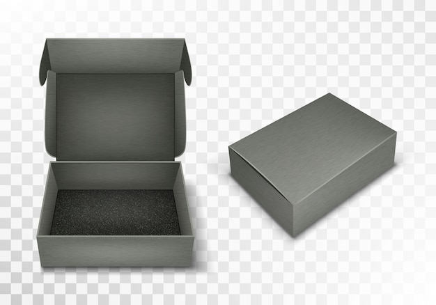 Scatola di cartone vuota grigia con top a ribalta, realistica