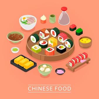 Scatola di cibo cinese sushi vettoriale, piatto, bacchette, vista dall'alto, sushi