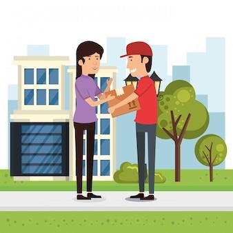 Scatola di consegna lavoratore consegna