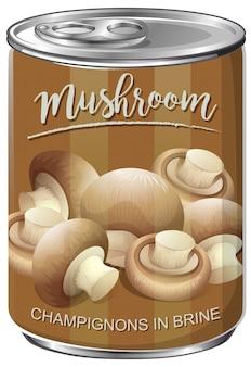 Scatola di funghi champignon in salamoia