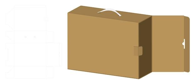 Scatola di imballaggio 3d mockup con modello dieline