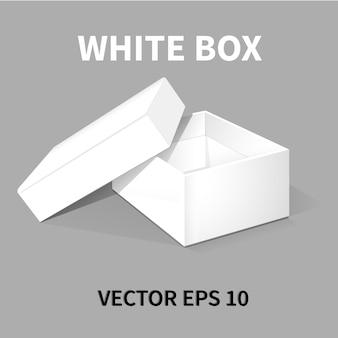 Scatola di imballaggio bianca con coperchio.