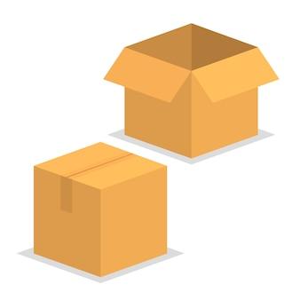 Scatola di imballaggio in cartone aperto e chiuso.