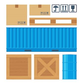 Scatola di imballaggio in cartone marrone, pallet, contenitore giallo, casse di legno, botte di metallo isolato su sfondo bianco con segni di attenzione fragile.