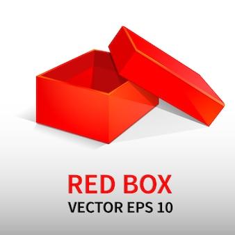 Scatola di imballaggio rossa con coperchio. per regali, banner di design, opuscoli, volantini.