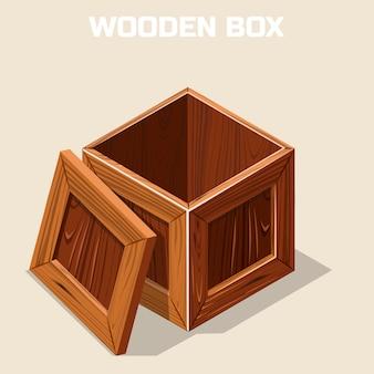 Scatola di legno aperta isometrica