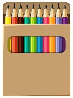 Scatola di matite con colori diversi