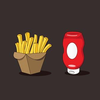 Scatola di patate fritte e bottiglia di salsa ketchup isolata su brown