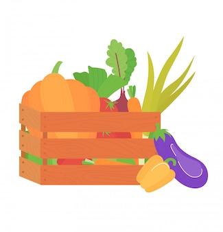 Scatola di verdure fatta a mano, campo pulito di eco coltivato raccolto della pianta dell'agricoltore di concetto