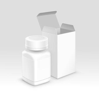 Scatola e bottiglia di carta d'imballaggio mediche in bianco per le pillole