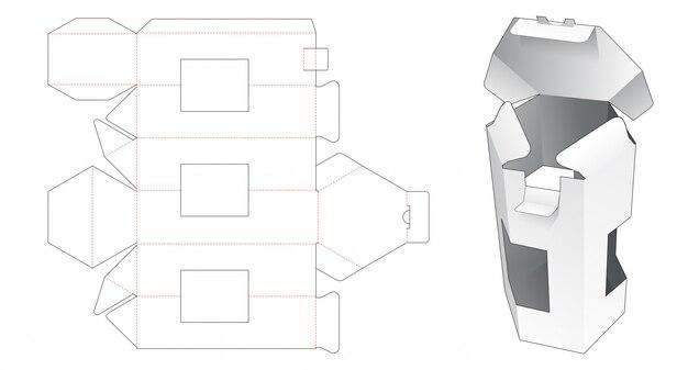Scatola esagonale con modello fustellato a 3 finestre