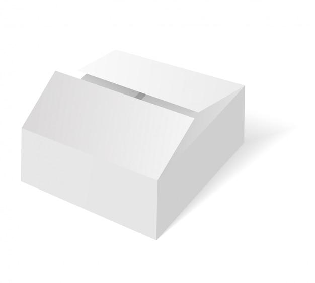 Scatola isometrica in bianco bianca. scatola di imballaggio in cartone.