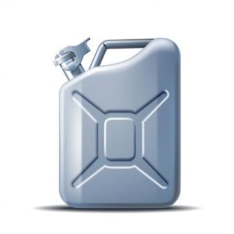 Scatola metallica grigia dell'olio per motori o del petrolio isolata su bianco. contenitore con carburante in stile realistico. concetto di potenza ed energia