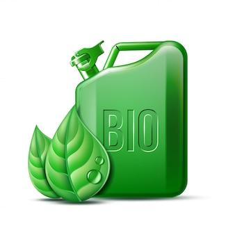 Scatola metallica verde con la parola bio e foglie verdi su fondo bianco, ambiente concettuale, concetto del combustibile biologico. illustrazione.
