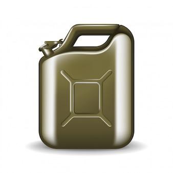 Scatola metallica verde di olio per motori o petrolio su bianco. contenitore con illustrazione di carburante in stile realistico. potenza ed energia