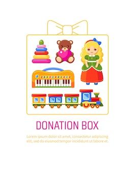 Scatola per donazioni con giocattoli per bambini.