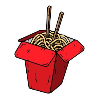 Scatola per wok con tagliatelle. illustrazione isolata