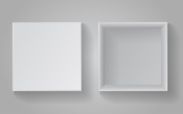 Scatola quadrata in cartone realistico per oggetti. illustrazione vettoriale