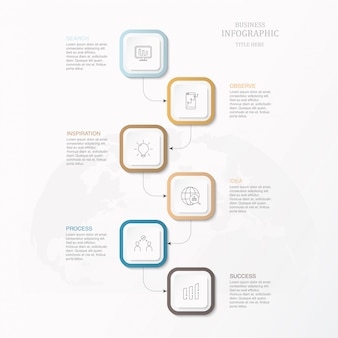 Scatola quadrata infografica per affari
