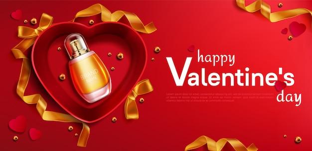Scatola regalo aperta a forma di cuore con striscione bottiglia di profumo