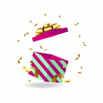 Scatola regalo aperta con fiocco dorato e nastro dorato.
