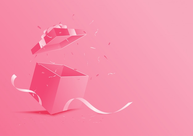 Scatola regalo aperta rosa.