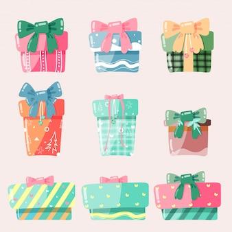 Scatola regalo dei cartoni animati regali di natale, illustrazione vettoriale