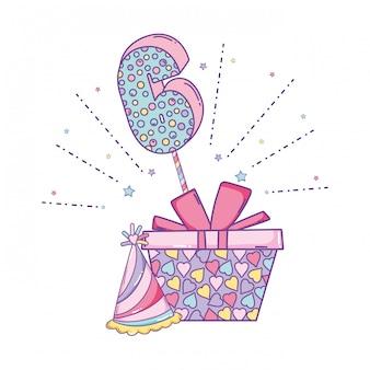 Scatola regalo di compleanno con cappello e numero
