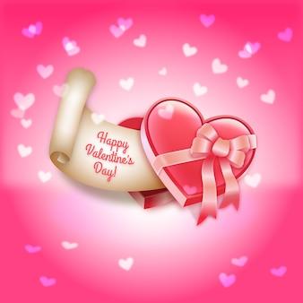 Scatola regalo di giorno heart-shaped di san valentino di illustrazione vettoriale cioccolatini