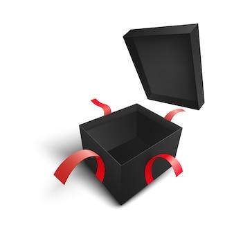 Scatola regalo quadrata nera aperta con coperchio volante e nastri strappati.