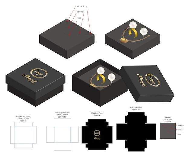 Scatola rigida per mockup prodotto orecchino anello collana