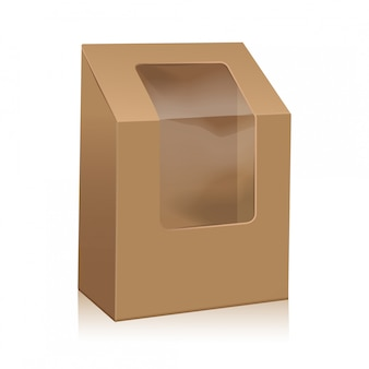 Scatola triangolare in cartone marrone bianco. scatole da asporto confezione mock up con finestra in plastica.