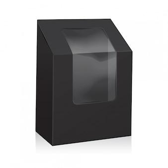 Scatola triangolare in cartone nero bianco. scatole da asporto confezione mock up con finestra in plastica.