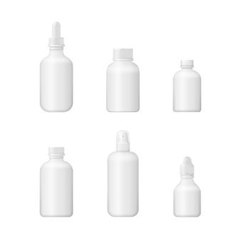 Scatola vuota medica 3d. design del pacchetto in plastica bianca. insieme di varie bottiglie mediche per medicine, pillole, compresse e vitamine.