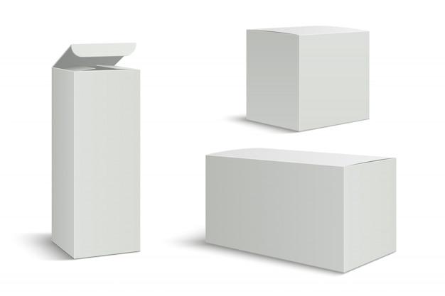 Scatole bianche. scatola in bianco del pacchetto 3d per i prodotti cosmetici della medicina. imballaggio di carta rettangolo lungo alto con le ombre