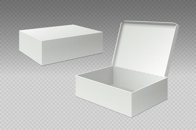 Scatole da imballaggio realistiche. pacchetto vuoto aperto, cartone di carta quadrato bianco. modello di confezione di cartone vuoto
