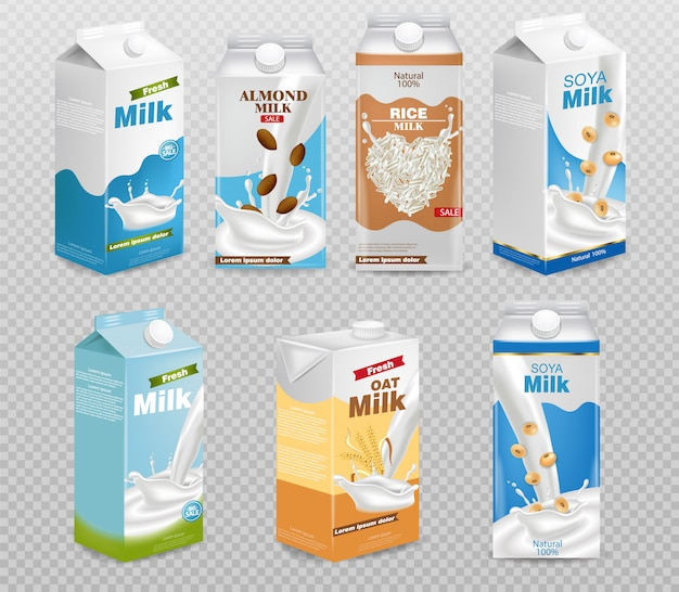 Scatole del latte isolate su sfondo trasparente