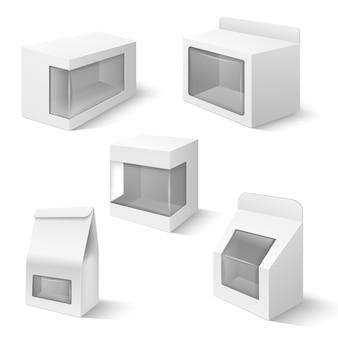 Scatole del prodotto con il vettore di plastica della finestra isolato. contenitore di confezione, imballaggio in bianco con illustrazione trasparente della finestra