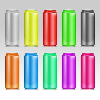 Scatole di alluminio colorate realistiche di vettore della bevanda.