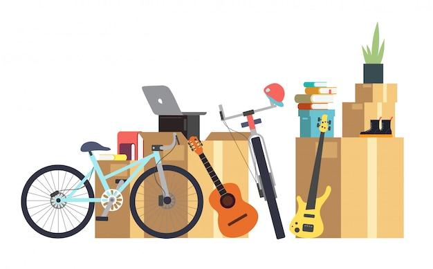 Scatole di cartone di carta con varie cose per la casa. famiglia che si trasferisce nella nuova casa. concetto di vettore dei cartoni animati