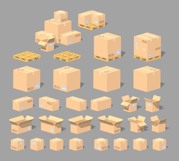 Scatole di cartone e pallets set in lowpoly 3d