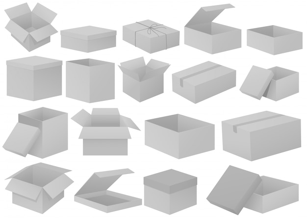 Scatole di cartone grigie