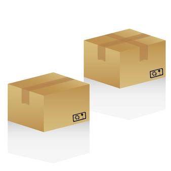Scatole di cartone isolato su sfondo bianco