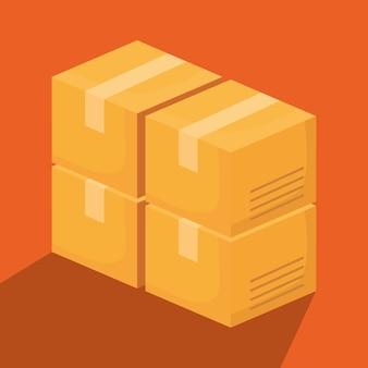 Scatole di cartone su sfondo arancione