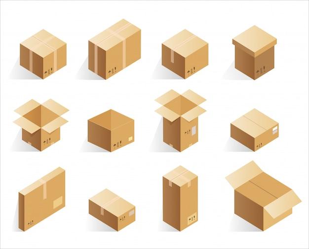 Scatole di consegna cartone isometriche realistiche. scatola logistica aperta e chiusa.