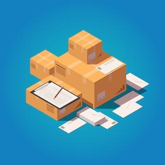Scatole di consegna con lettere e lavagna
