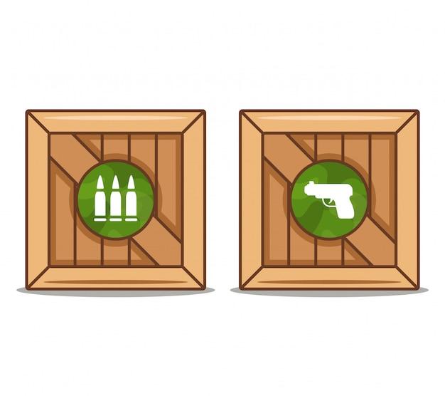 Scatole di legno con armi e munizioni. illustrazione piatta.